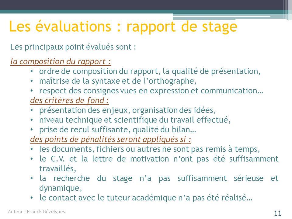 Les principaux point évalués sont : la composition du rapport : ordre de composition du rapport, la qualité de présentation, maîtrise de la syntaxe et