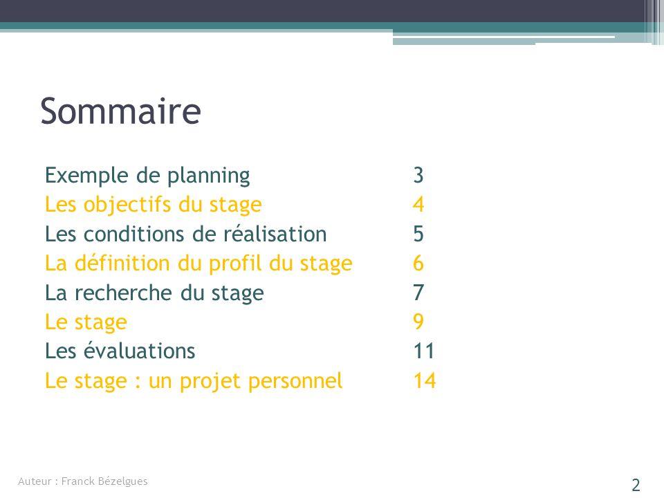 Sommaire Exemple de planning Les objectifs du stage Les conditions de réalisation La définition du profil du stage La recherche du stage Le stage Les