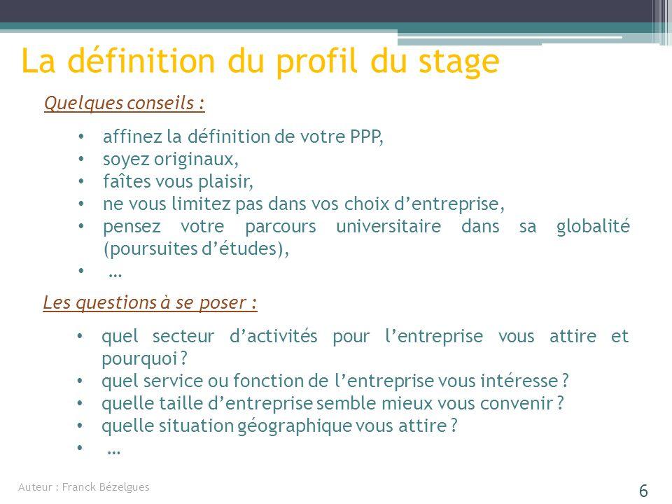 La définition du profil du stage Quelques conseils : affinez la définition de votre PPP, soyez originaux, faîtes vous plaisir, ne vous limitez pas dan