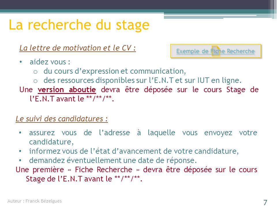 La recherche du stage La lettre de motivation et le CV : aidez vous : ododu cours dexpression et communication, ododes ressources disponibles sur lE.N