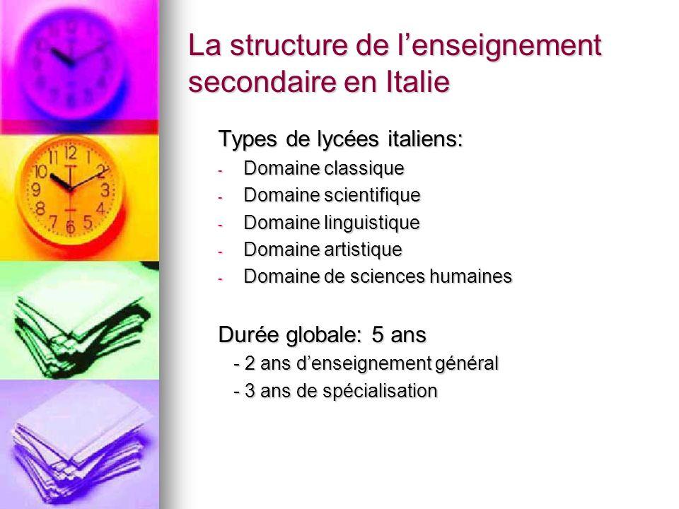 La structure de lenseignement secondaire en Italie Types de lycées italiens: - Domaine classique - Domaine scientifique - Domaine linguistique - Domai