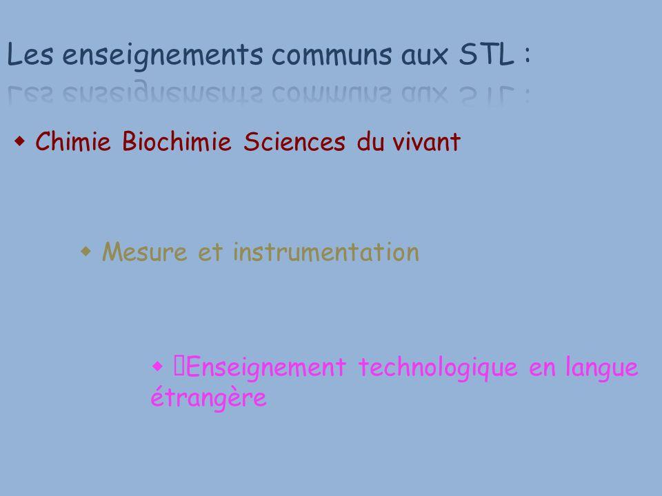 Chimie Biochimie Sciences du vivant Mesure et instrumentation Enseignement technologique en langue étrangère