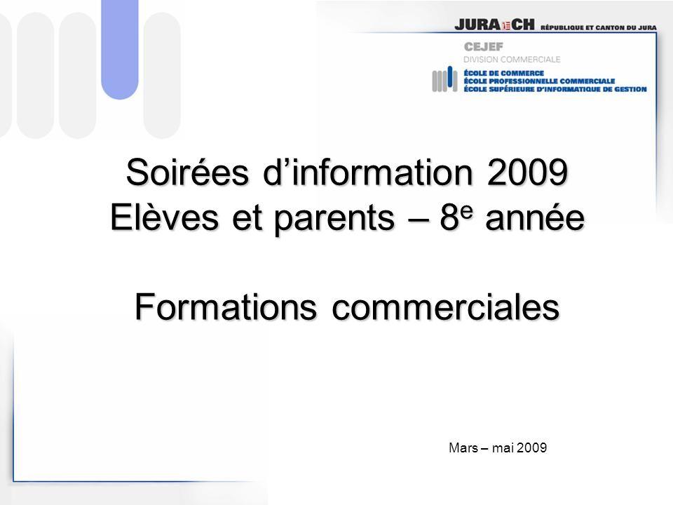 Soirées dinformation 2009 Elèves et parents – 8 e année Formations commerciales Mars – mai 2009