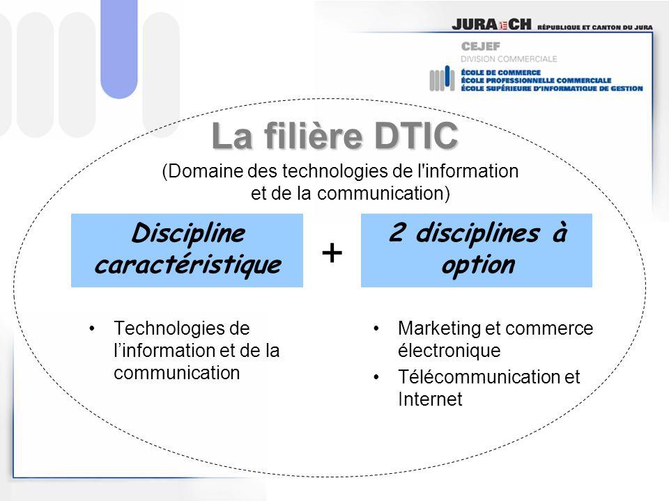 La filière DTIC Technologies de linformation et de la communication Marketing et commerce électronique Télécommunication et Internet Discipline caract