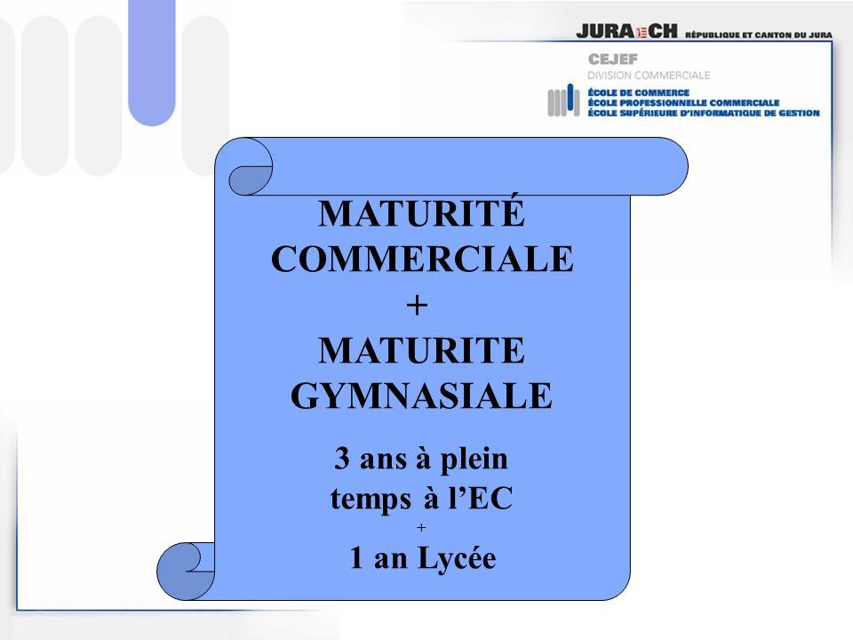MATURITÉ COMMERCIALE + MATURITE GYMNASIALE 3 ans à plein temps à lEC + 1 an Lycée