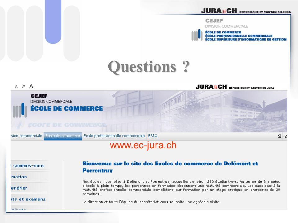 Questions ? www.ec-jura.ch