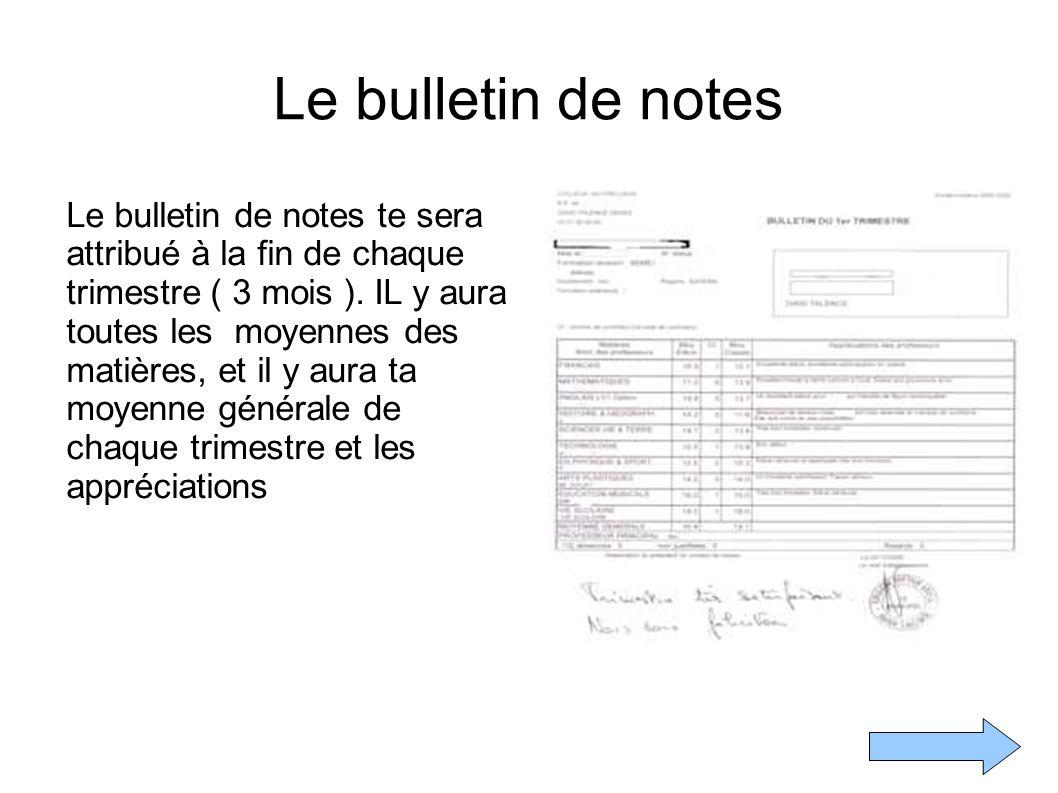 Le bulletin de notes Le bulletin de notes te sera attribué à la fin de chaque trimestre ( 3 mois ).