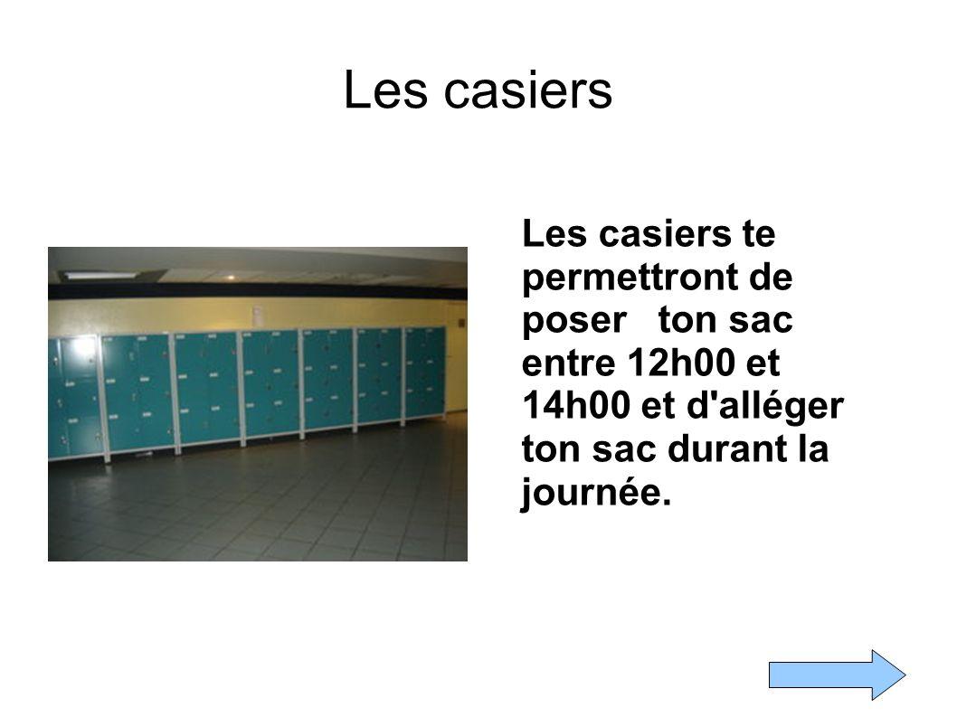 Les casiers Les casiers te permettront de poser ton sac entre 12h00 et 14h00 et d alléger ton sac durant la journée.