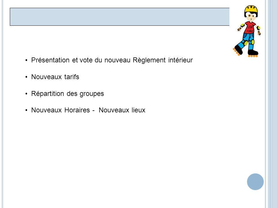 Présentation et vote du nouveau Règlement intérieur Nouveaux tarifs Répartition des groupes Nouveaux Horaires - Nouveaux lieux