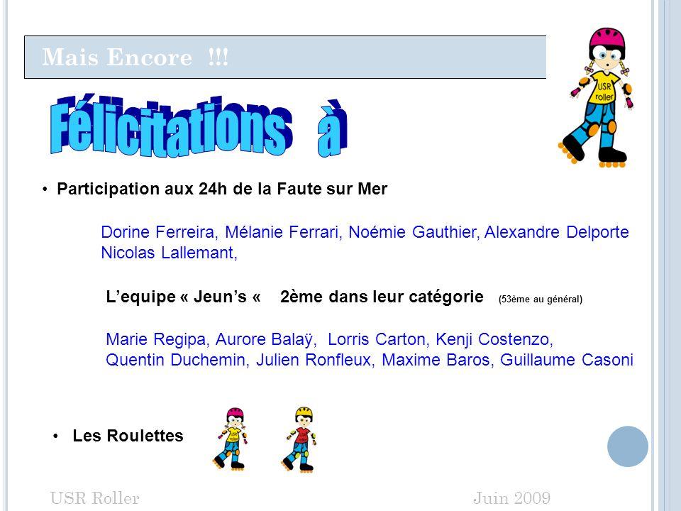 Mais Encore !!! USR Roller Juin 2009 Participation aux 24h de la Faute sur Mer Marie Regipa, Aurore Balaÿ, Lorris Carton, Kenji Costenzo, Quentin Duch