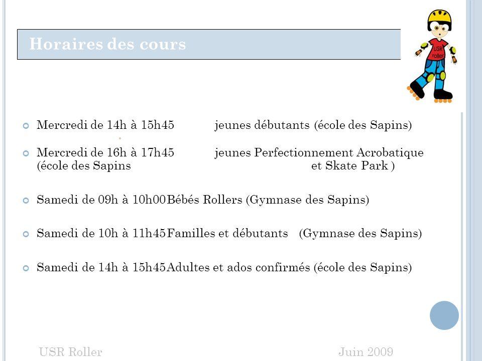 Horaires des cours Mercredi de 14h à 15h45 jeunes débutants (école des Sapins) Mercredi de 16h à 17h45jeunes Perfectionnement Acrobatique (école des S
