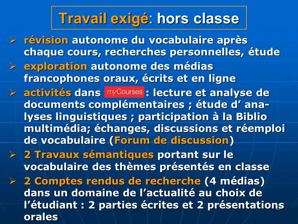 13 Travail exigé: hors classe révision autonome du vocabulaire après chaque cours, recherches personnelles, étude révision autonome du vocabulaire apr