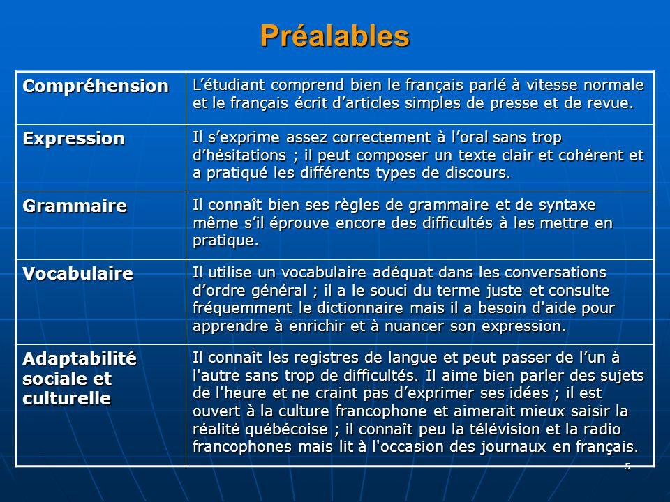 5 Préalables Compréhension Létudiant comprend bien le français parlé à vitesse normale et le français écrit darticles simples de presse et de revue. E