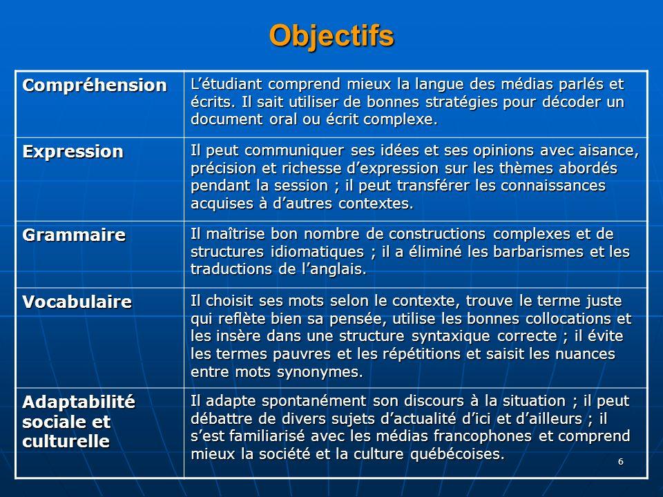 6 Objectifs Compréhension Létudiant comprend mieux la langue des médias parlés et écrits.