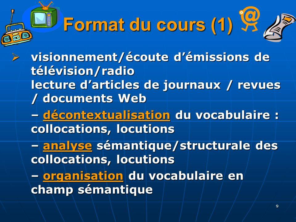 9 Format du cours (1) visionnement/écoute démissions de télévision/radio lecture darticles de journaux / revues / documents Web visionnement/écoute dé