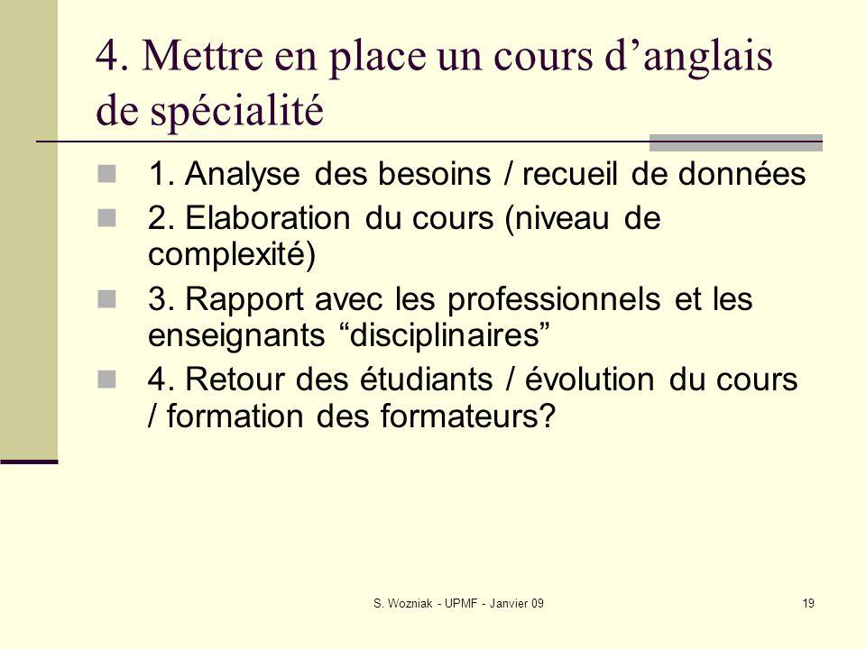 S. Wozniak - UPMF - Janvier 0919 4. Mettre en place un cours danglais de spécialité 1. Analyse des besoins / recueil de données 2. Elaboration du cour