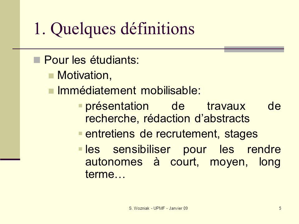 S. Wozniak - UPMF - Janvier 095 1. Quelques définitions Pour les étudiants: Motivation, Immédiatement mobilisable: présentation de travaux de recherch