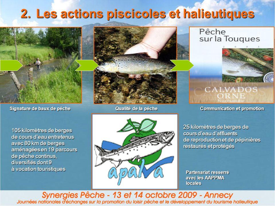 2.Les actions piscicoles et halieutiques 105 kilomètres de berges de cours deau entretenus avec 80 km de berges aménagées en 19 parcours de pêche cont