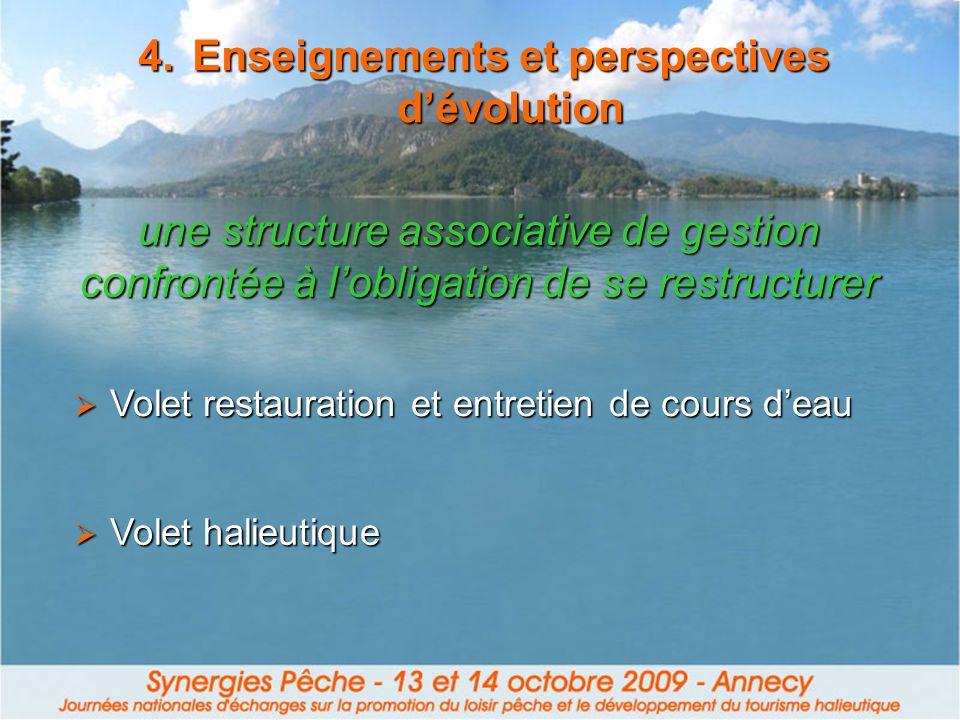 4.Enseignements et perspectives dévolution Volet restauration et entretien de cours deau Volet restauration et entretien de cours deau Volet halieutiq