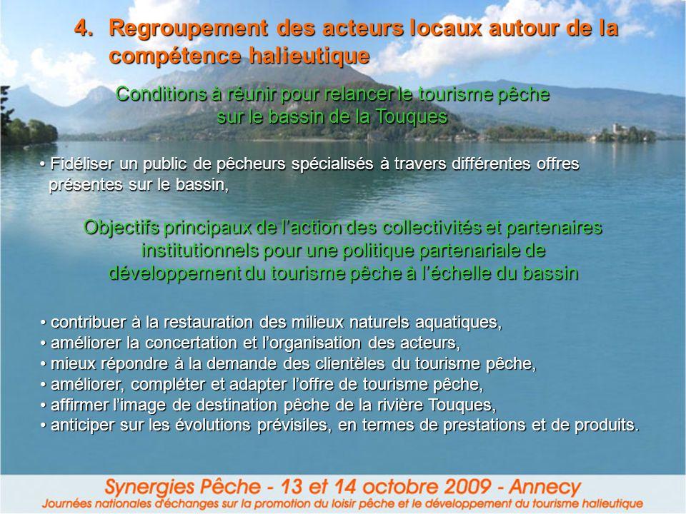 4.Regroupement des acteurs locaux autour de la compétence halieutique Conditions à réunir pour relancer le tourisme pêche sur le bassin de la Touques