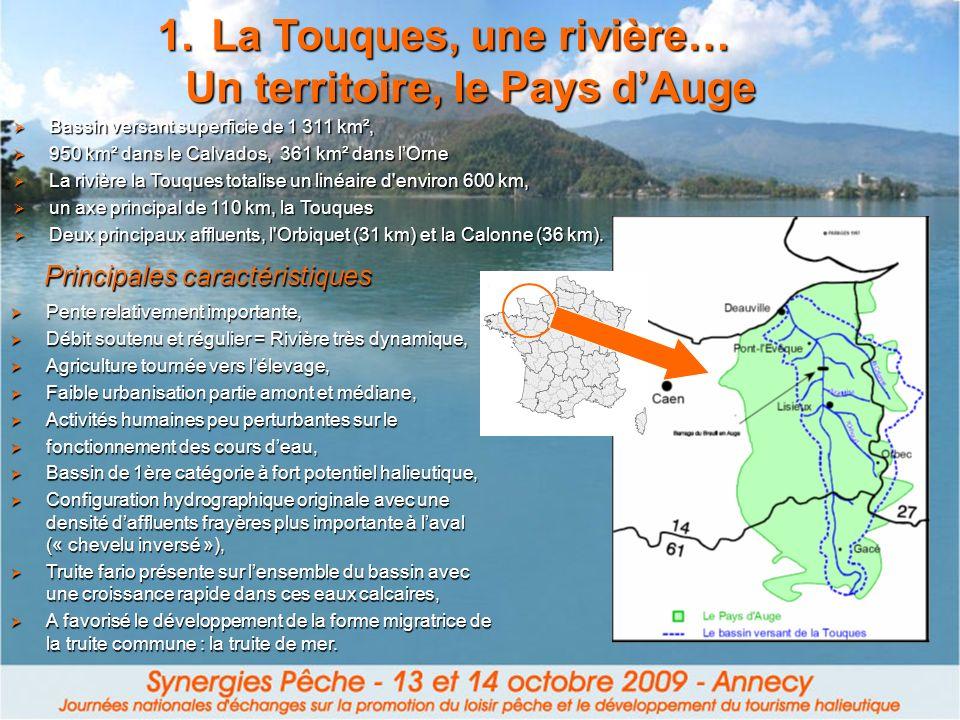 1.La Touques, une rivière… Un territoire, le Pays dAuge Principales caractéristiques Pente relativement importante, Pente relativement importante, Déb