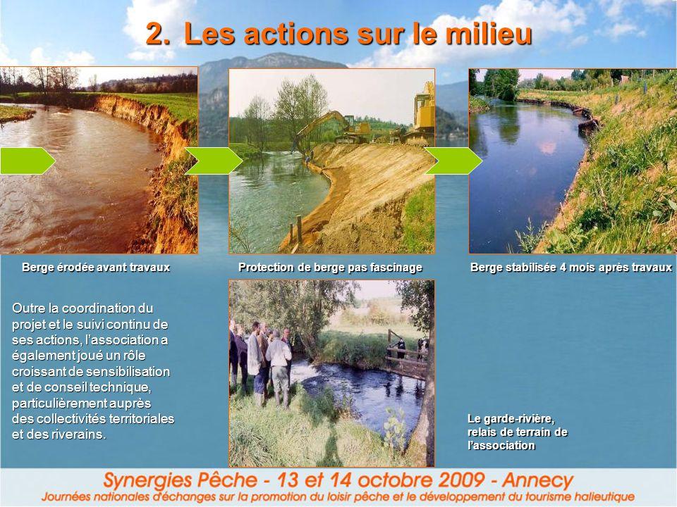 2.Les actions sur le milieu Outre la coordination du projet et le suivi continu de ses actions, lassociation a également joué un rôle croissant de sen