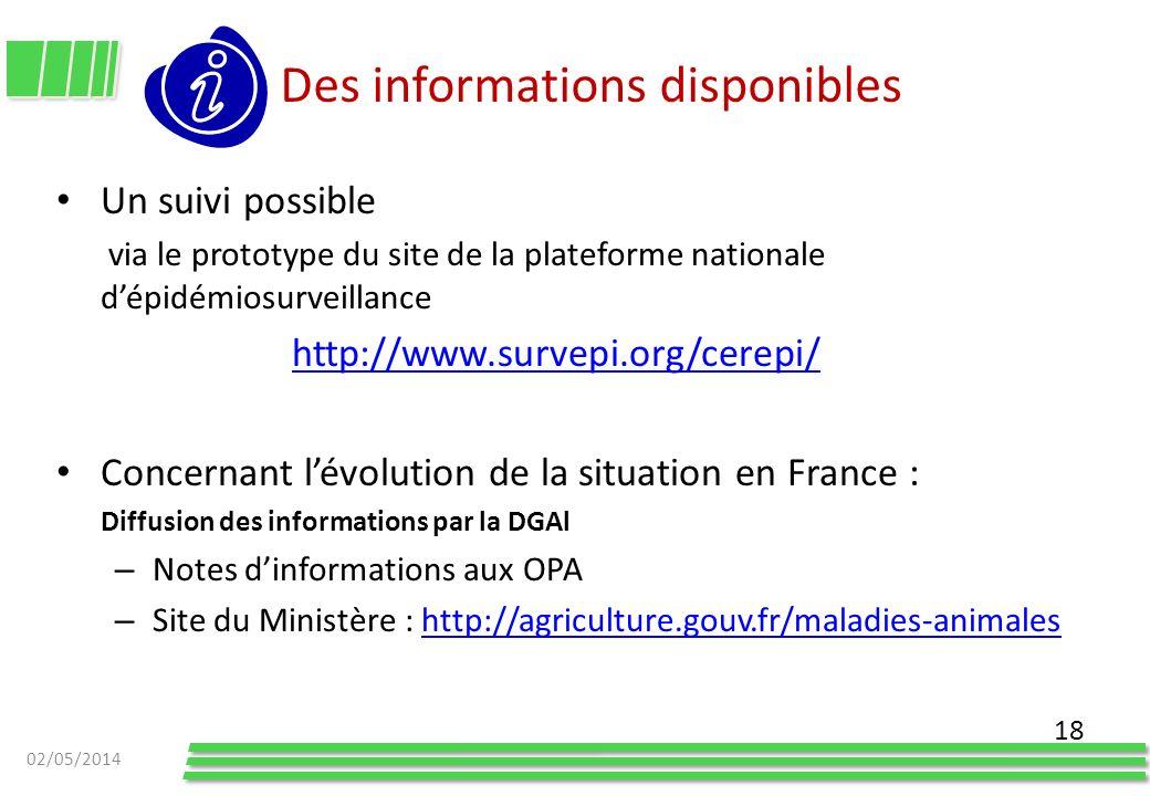 Des informations disponibles Un suivi possible via le prototype du site de la plateforme nationale dépidémiosurveillance http://www.survepi.org/cerepi