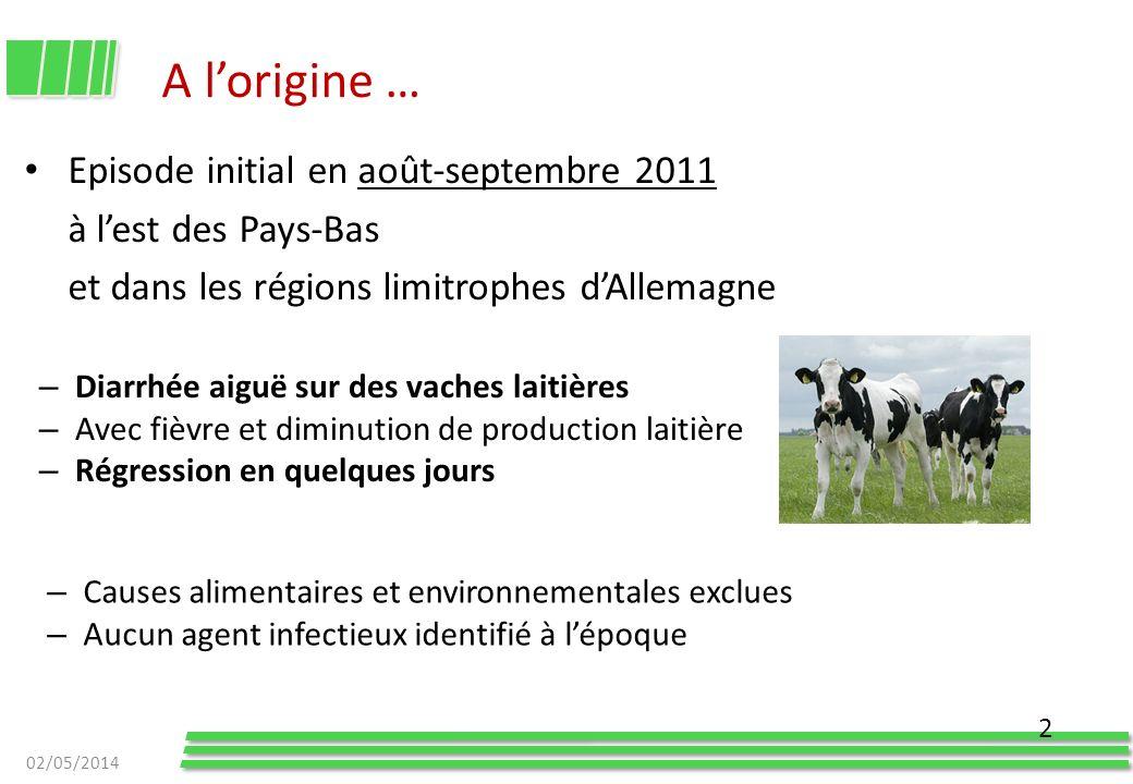 A lorigine … Episode initial en août-septembre 2011 à lest des Pays-Bas et dans les régions limitrophes dAllemagne 02/05/2014 2 – Causes alimentaires