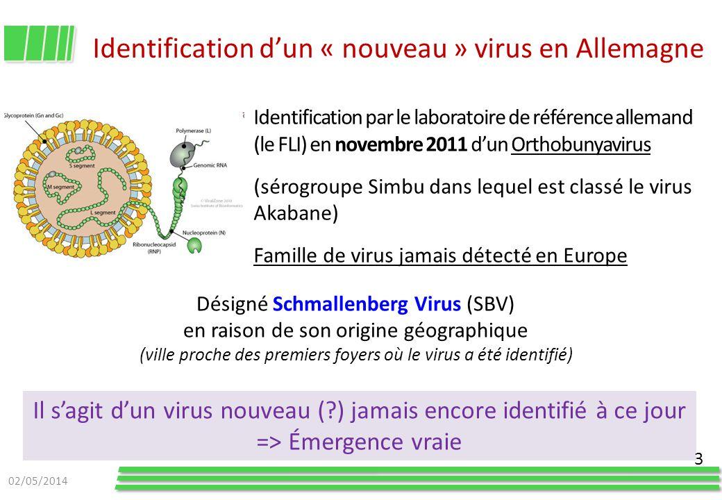 Identification dun « nouveau » virus en Allemagne Identification par le laboratoire de référence allemand (le FLI) en novembre 2011 dun Orthobunyaviru