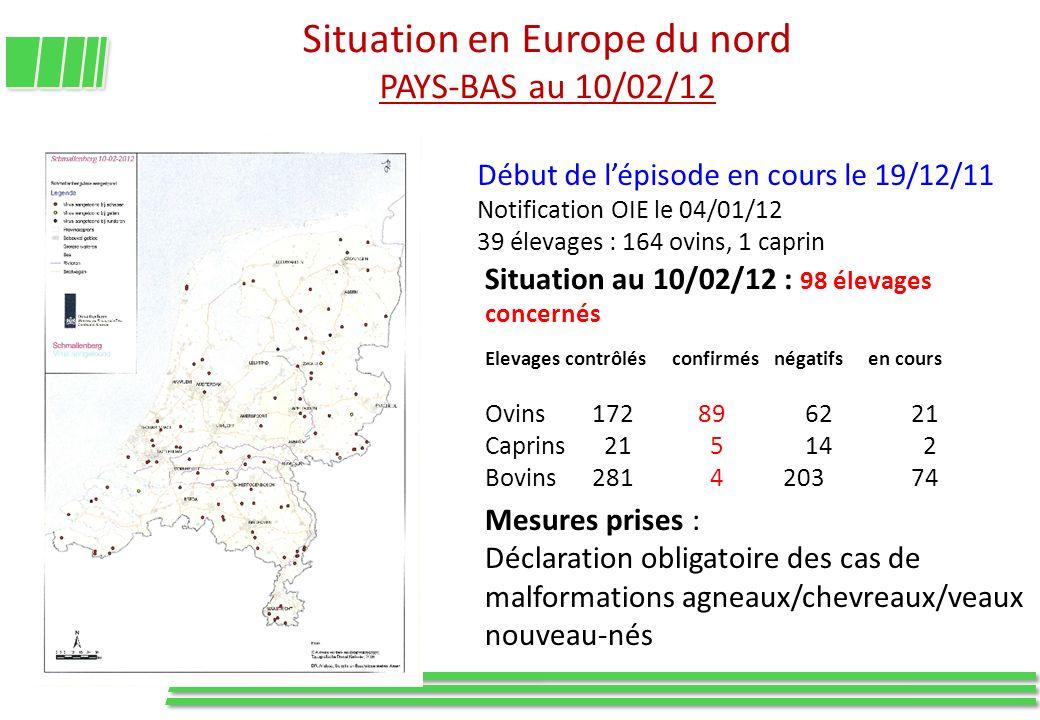 Situation en Europe du nord PAYS-BAS au 10/02/12 Début de lépisode en cours le 19/12/11 Notification OIE le 04/01/12 39 élevages : 164 ovins, 1 caprin
