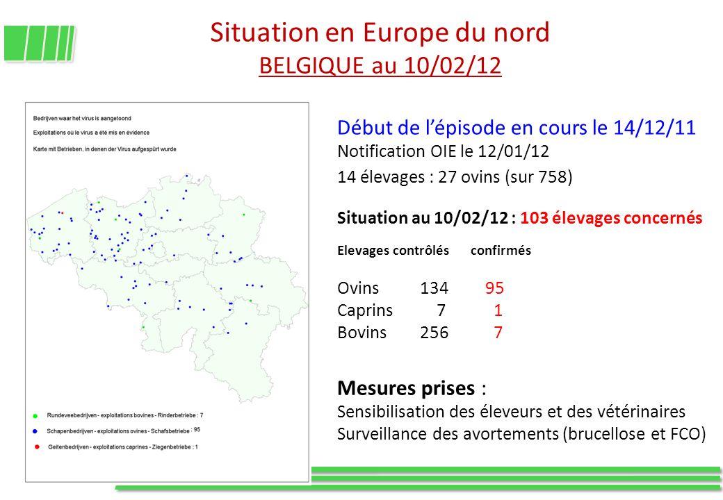 Situation en Europe du nord BELGIQUE au 10/02/12 Début de lépisode en cours le 14/12/11 Notification OIE le 12/01/12 14 élevages : 27 ovins (sur 758)