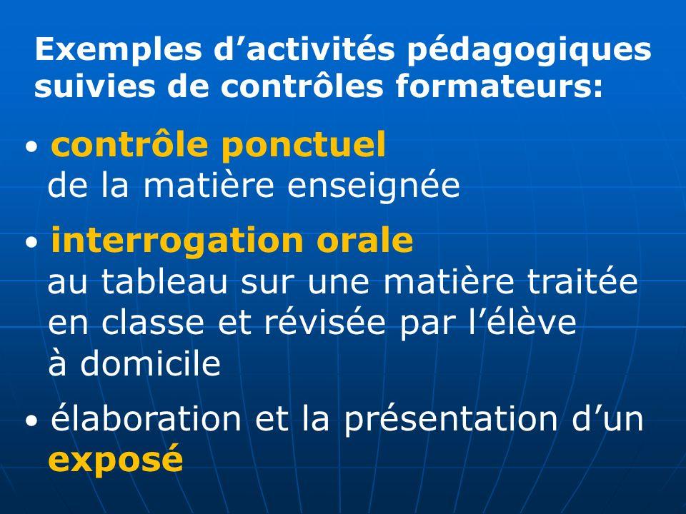 Exemples dactivités pédagogiques suivies de contrôles formateurs: contrôle ponctuel de la matière enseignée interrogation orale au tableau sur une mat