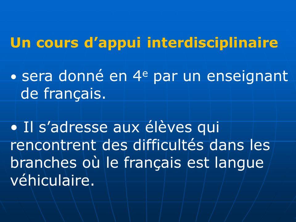 Un cours dappui interdisciplinaire sera donné en 4 e par un enseignant de français. Il sadresse aux élèves qui rencontrent des difficultés dans les br