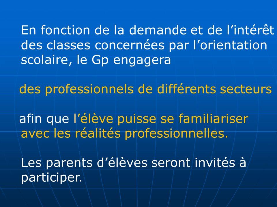 En fonction de la demande et de lintérêt des classes concernées par lorientation scolaire, le Gp engagera des professionnels de différents secteurs af