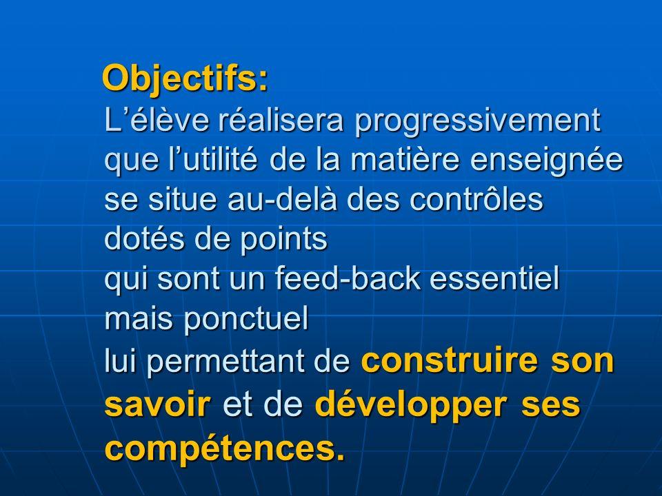 Objectifs: Lélève réalisera progressivement que lutilité de la matière enseignée se situe au-delà des contrôles dotés de points qui sont un feed-back