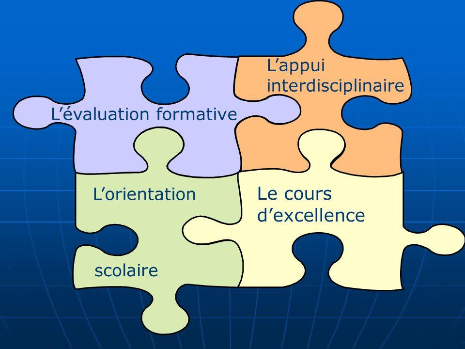 Le cours dexcellence Lorientation Lévaluation formative Lappui interdisciplinaire scolaire