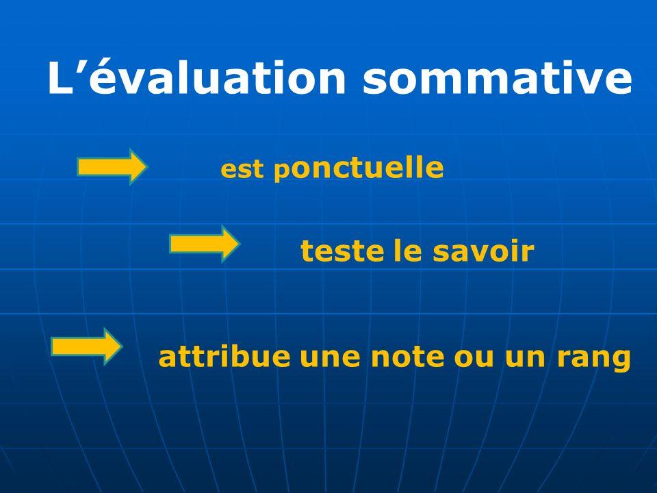 Lévaluation sommative est p onctuelle teste le savoir attribue une note ou un rang
