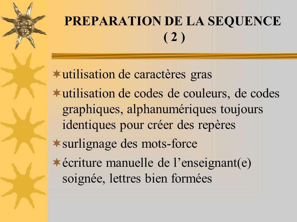 PREPARATION DE LA SEQUENCE ( 2 ) utilisation de caractères gras utilisation de codes de couleurs, de codes graphiques, alphanumériques toujours identi