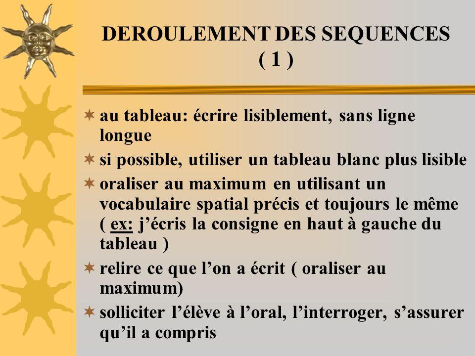 DEROULEMENT DES SEQUENCES ( 1 ) au tableau: écrire lisiblement, sans ligne longue si possible, utiliser un tableau blanc plus lisible oraliser au maxi