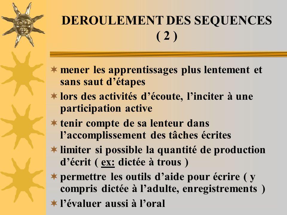 DEROULEMENT DES SEQUENCES ( 2 ) mener les apprentissages plus lentement et sans saut détapes lors des activités découte, linciter à une participation