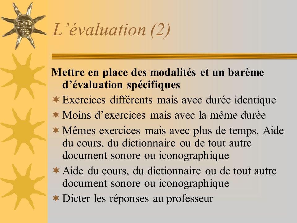 Lévaluation (2) Mettre en place des modalités et un barème dévaluation spécifiques Exercices différents mais avec durée identique Moins dexercices mai