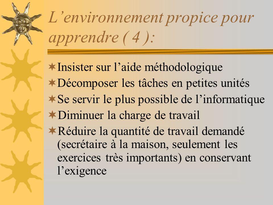 Lenvironnement propice pour apprendre ( 4 ): Insister sur laide méthodologique Décomposer les tâches en petites unités Se servir le plus possible de l