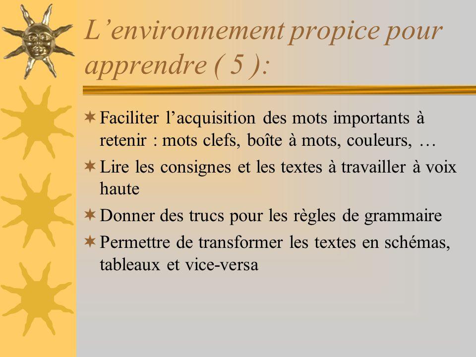 Lenvironnement propice pour apprendre ( 5 ): Faciliter lacquisition des mots importants à retenir : mots clefs, boîte à mots, couleurs, … Lire les con