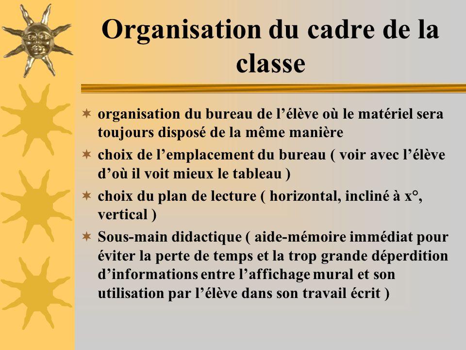 Organisation du cadre de la classe organisation du bureau de lélève où le matériel sera toujours disposé de la même manière choix de lemplacement du b