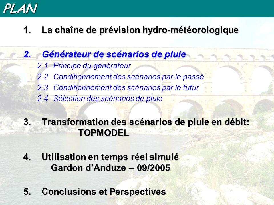 PLAN 1.La chaîne de prévision hydro-météorologique 2.Générateur de scénarios de pluie 3.Transformation des scénarios de pluie en débit: TOPMODEL 4.Utilisation en temps réel simulé Gardon dAnduze – 09/2005 5.Conclusions et Perspectives