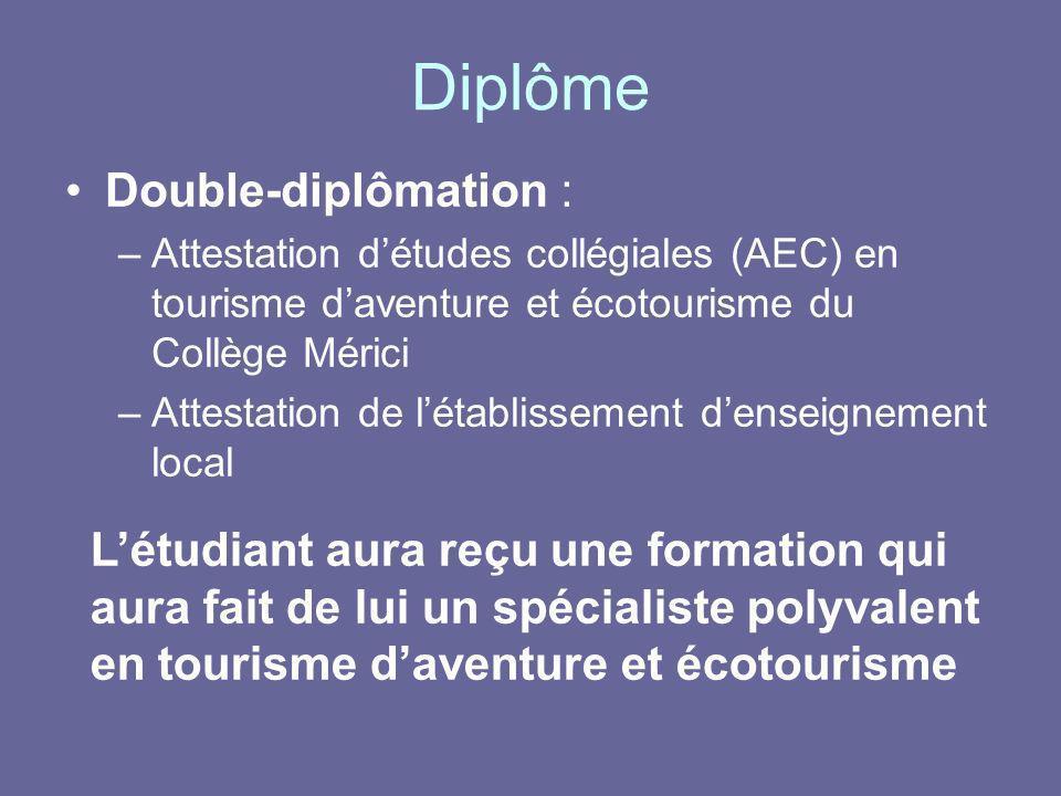 Diplôme Double-diplômation : –Attestation détudes collégiales (AEC) en tourisme daventure et écotourisme du Collège Mérici –Attestation de létablissem