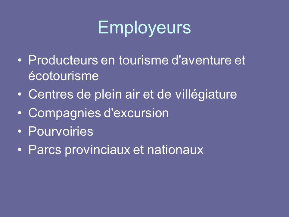 Employeurs Producteurs en tourisme d'aventure et écotourisme Centres de plein air et de villégiature Compagnies d'excursion Pourvoiries Parcs provinci