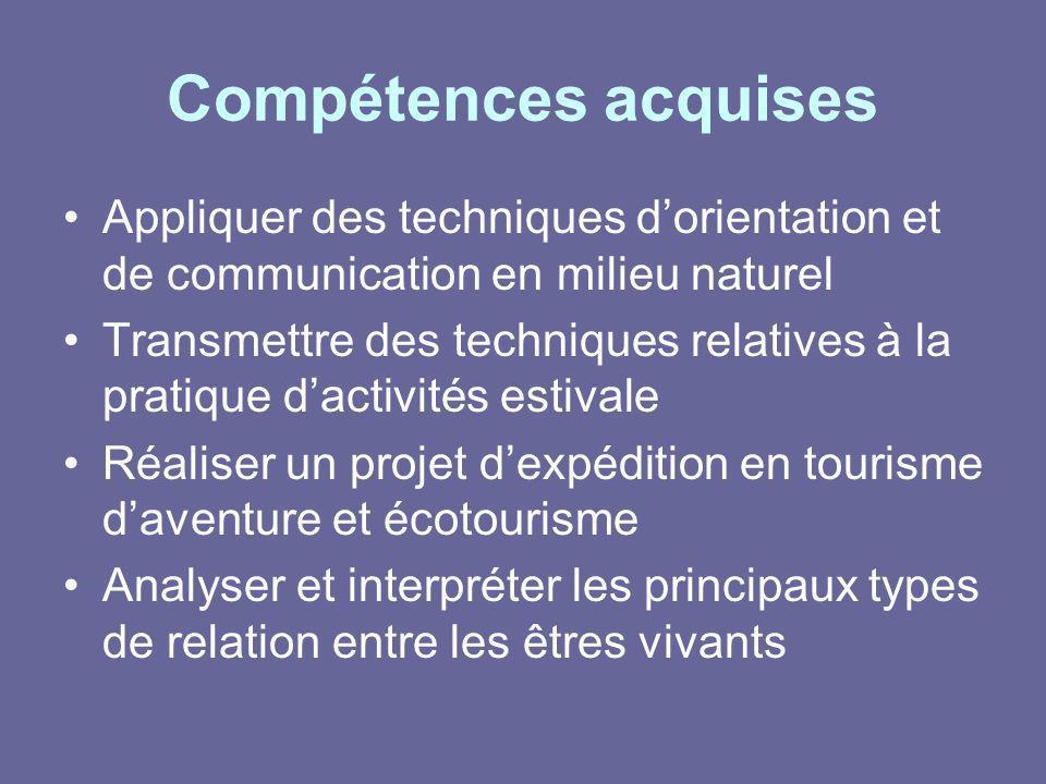 Compétences acquises Appliquer des techniques dorientation et de communication en milieu naturel Transmettre des techniques relatives à la pratique da