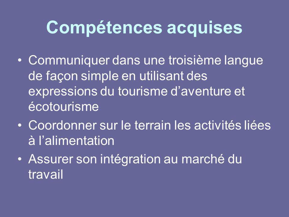 Compétences acquises Communiquer dans une troisième langue de façon simple en utilisant des expressions du tourisme daventure et écotourisme Coordonne