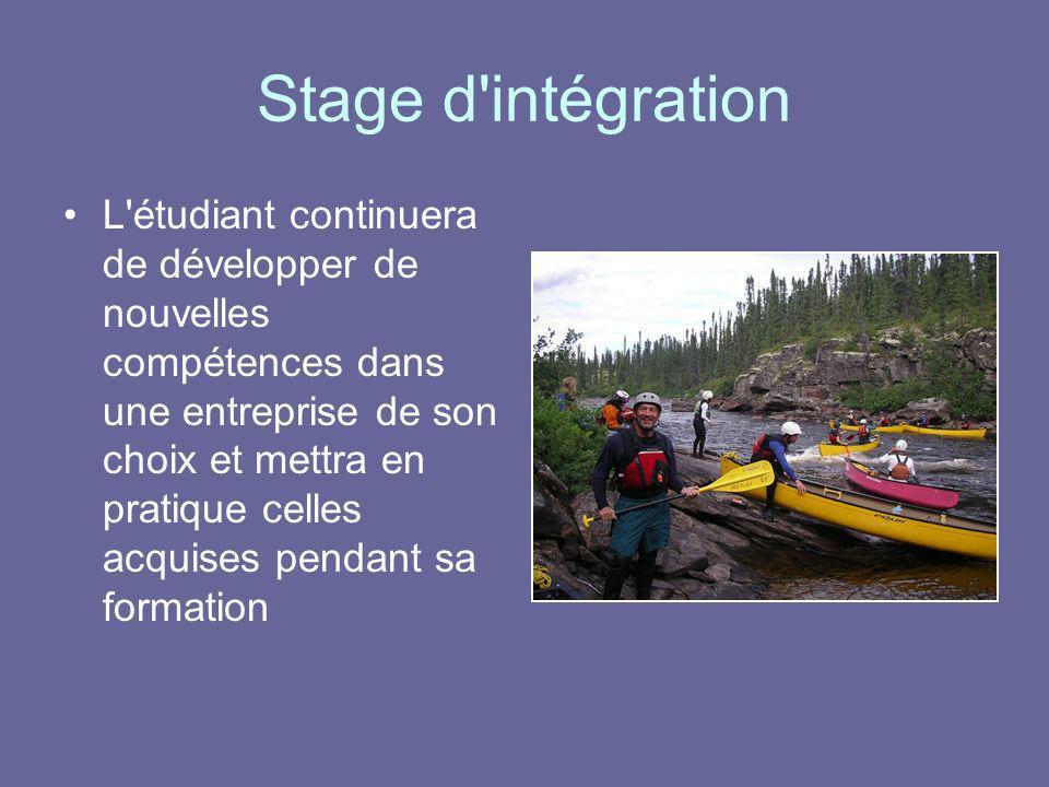 Stage d'intégration L'étudiant continuera de développer de nouvelles compétences dans une entreprise de son choix et mettra en pratique celles acquise
